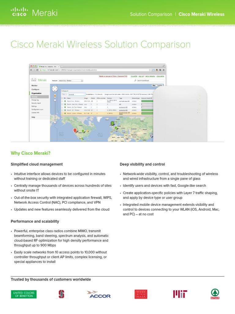 Meraki WLAN Solution Comparison | Wireless Lan | Wi Fi