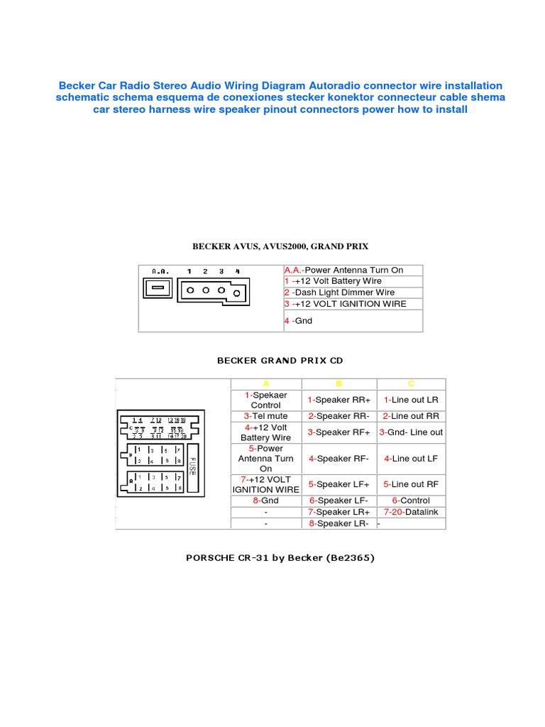 Becker Car Radio Wiring Diagram Pdf