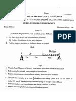 KTU BE 100 Engineering Mechanics Question Paper