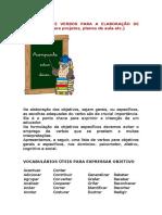 Coletânea de Verbos Para a Elaboração de Objetivos em planejamentos