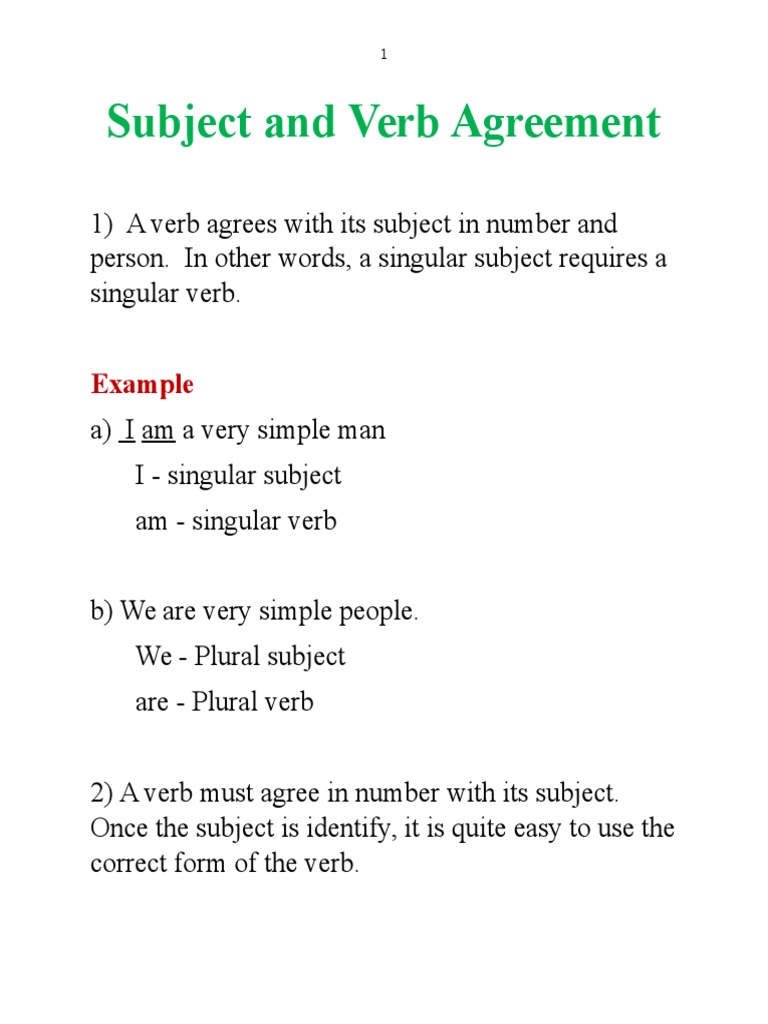 Subject And Verb Agreement Grammatical Number Subject Grammar