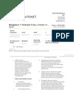 Bangalore to Chennai Bus Ticket Oct 21