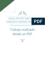 Esfuerzo Vocal y de Incapacidad Vocal Entre Los Maestros
