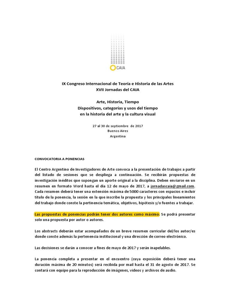Convocatoria Presentación de Ponencias CAIA 2017
