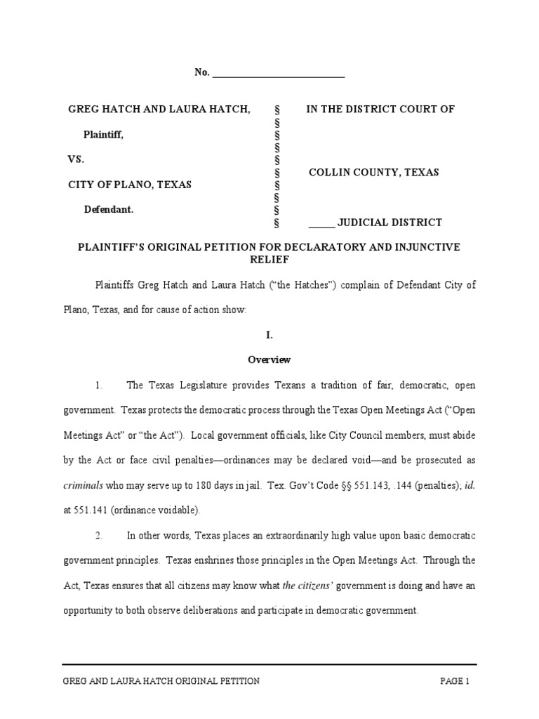 Greg and laura hatch original petition v plano declaratory greg and laura hatch original petition v plano declaratory judgment lawsuit xflitez Image collections