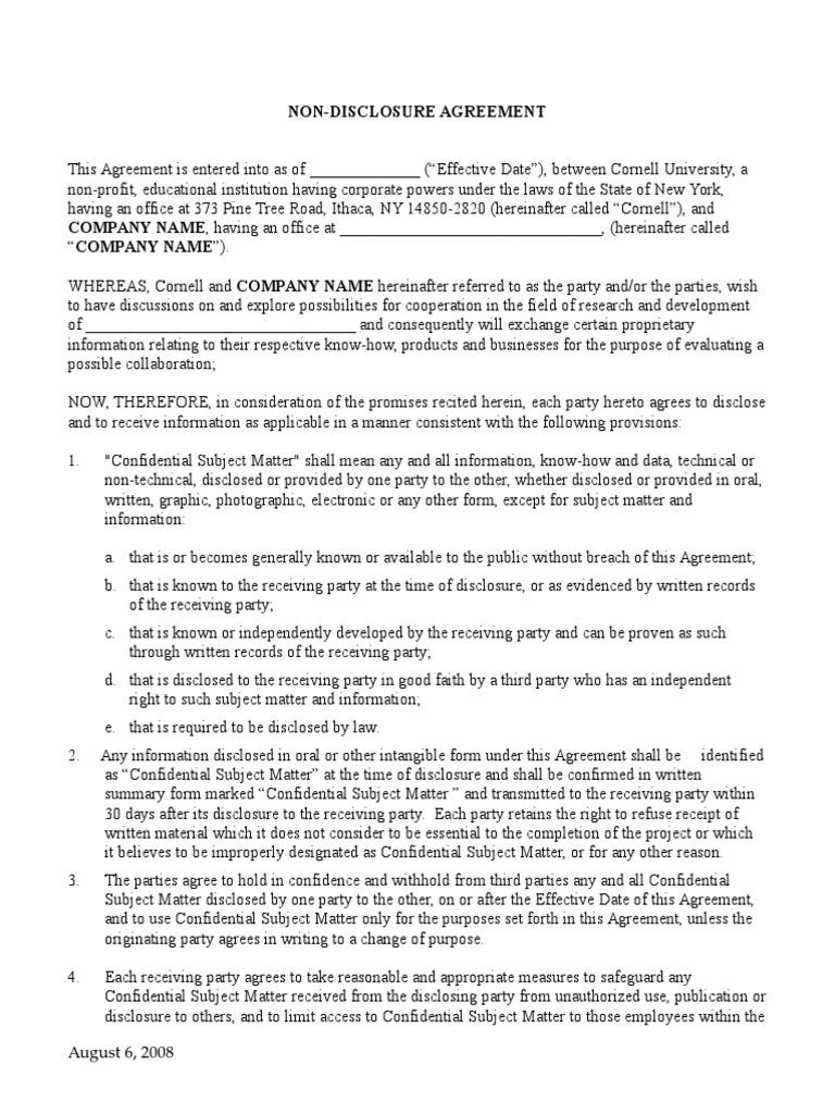 Standard Nda Non Disclosure Agreement Information Economics