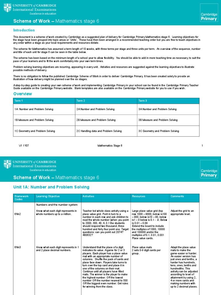 Scheme of Work Maths Stage 6.v1 | Multiplication | Shape