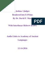 Joshua- Judges in E-Prime With Interlinear Hebrew in IPA