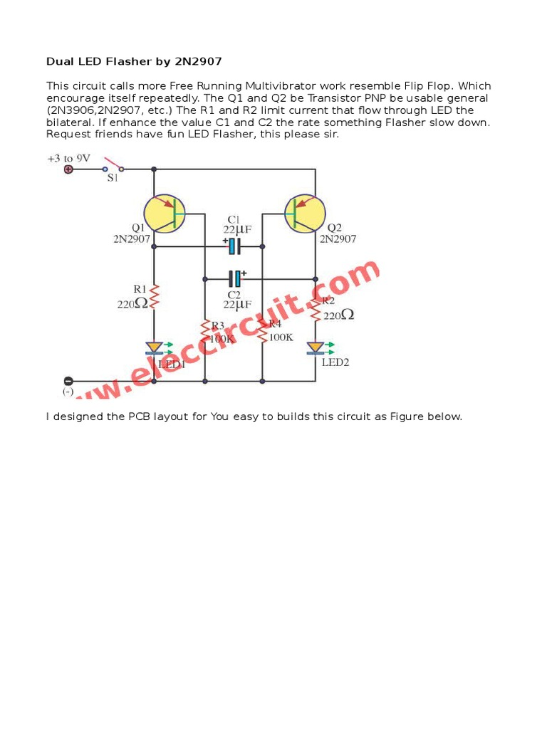 Dual Led Flasher By 2n2907 2 Circuit Diagram 1531645488v1