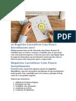 [Demostrativo] 10 Negócios Lucrativos Com Pouco Investimento 2017