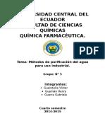 Quimica Inorganica Ll Métodos de Purificación Del Agua Para Uso Industrial.