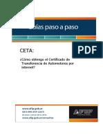 GUIA -   CERTIFICADO DE TRANSFERENCIA DE AUTOMOTOR   CETA    AFIP