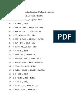 balancing equations worksheet answers   Chemical Substances ...