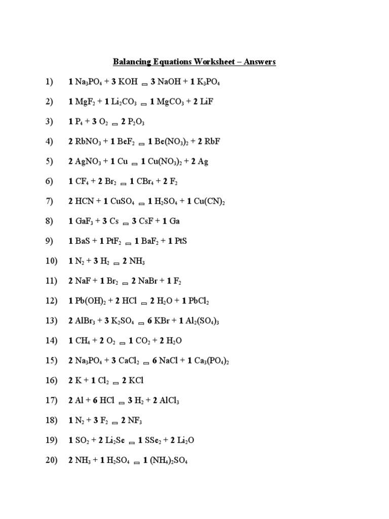 balancing equations worksheet answers | Chemical ...