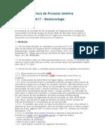 Edital de Abertura de Processo Seletivo Biotecnologia 1 Semestre 2017