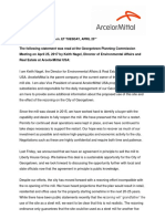 ArcelorMittal Public Statement
