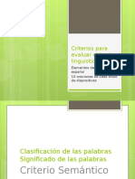 Criterios Para Evaluar El Hecho Linguistico