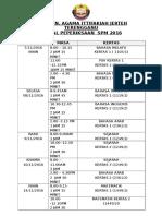 Jadual Persediaan Spm 2016