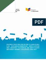 Instructivo Inicio de Clases Sierra Año Lectivo 2016-2017 Versión Final Rev.(2)-1