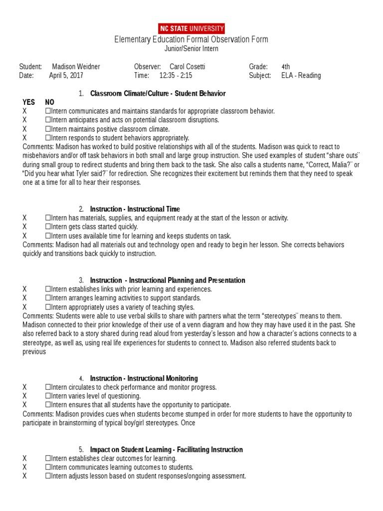 maddison-seniorjunior formal observation form   Classroom