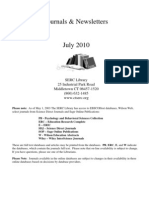 Journals and Newsletters List July 2010
