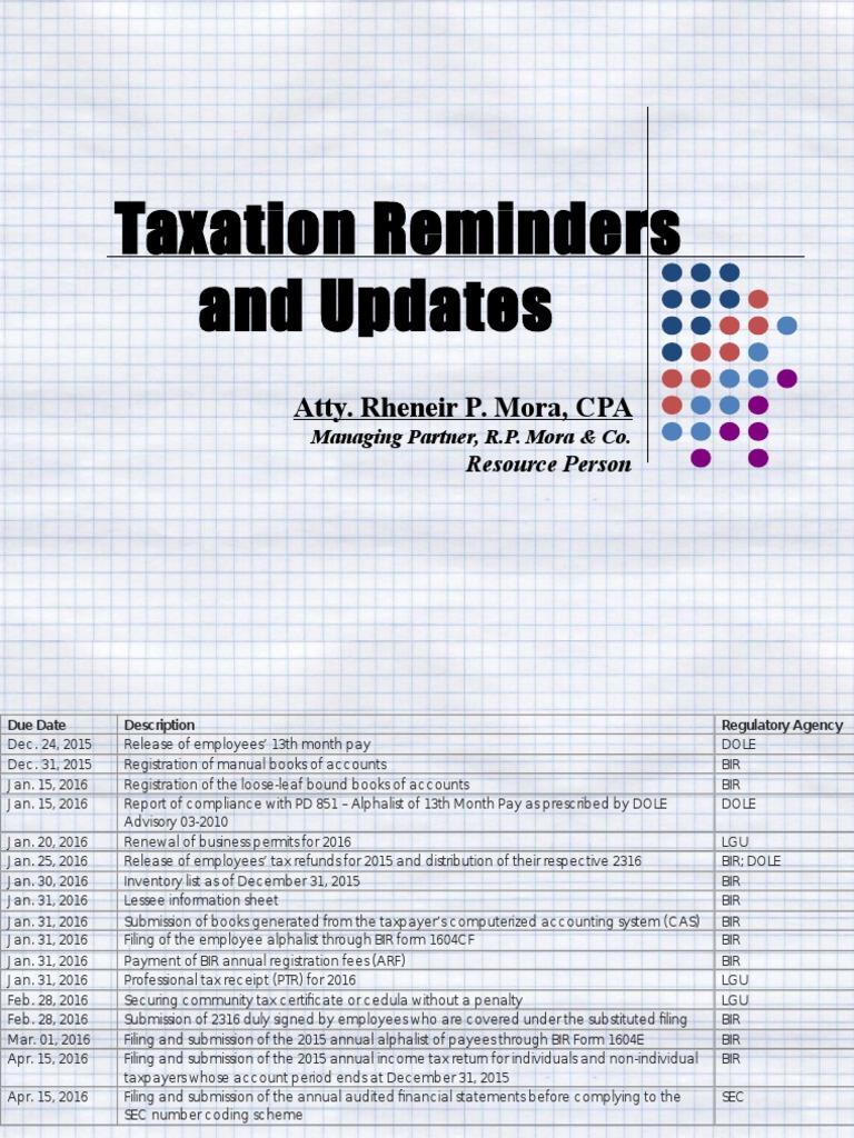 Taxation   Tax Deduction   Debits And Credits