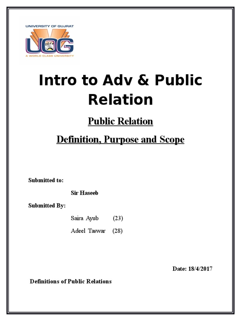 definitions of public relations