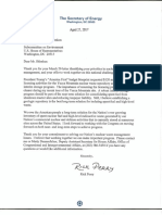 Energy Secretary Perry Letter to Reps. John Shimkus and Greg Walden