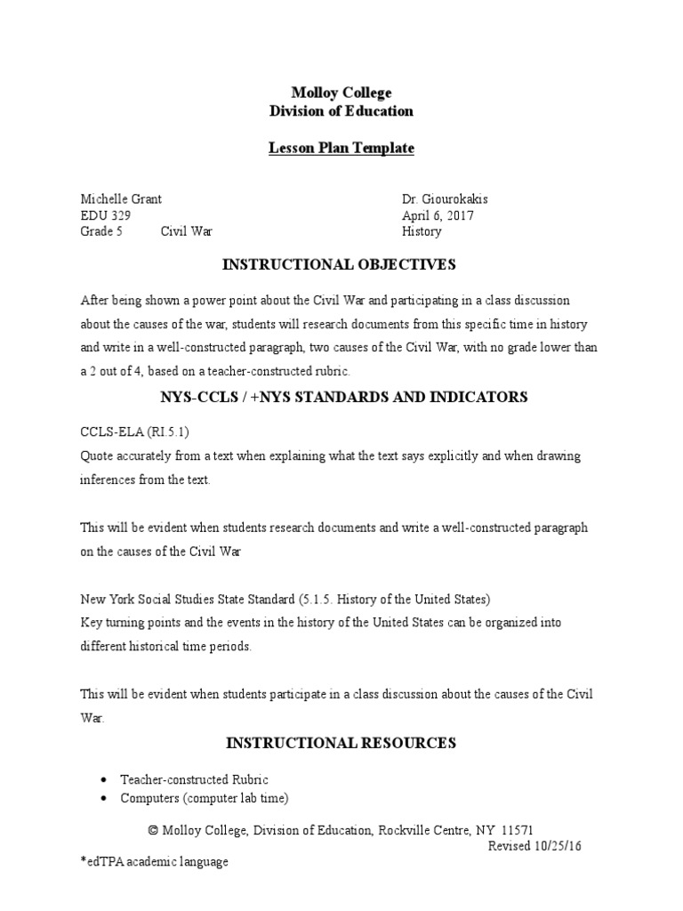 Lesson Plan Best Version Abraham Lincoln Rubric Academic - New york state lesson plan template