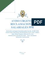 AVISO URGENTE Ppr Declaracion a Someterse Reclamacion Salarial Normas y Salarios Federal PPR ( Instrucciones)
