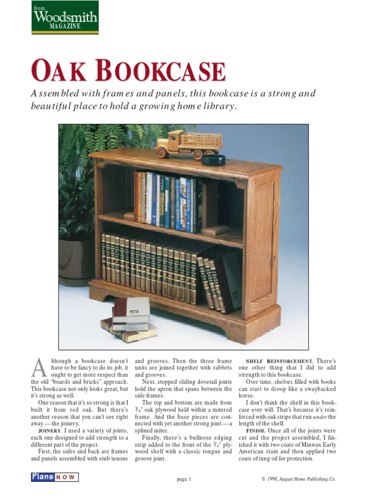 Woodworking Plans Woodsmith Magazine Oak Bookcase