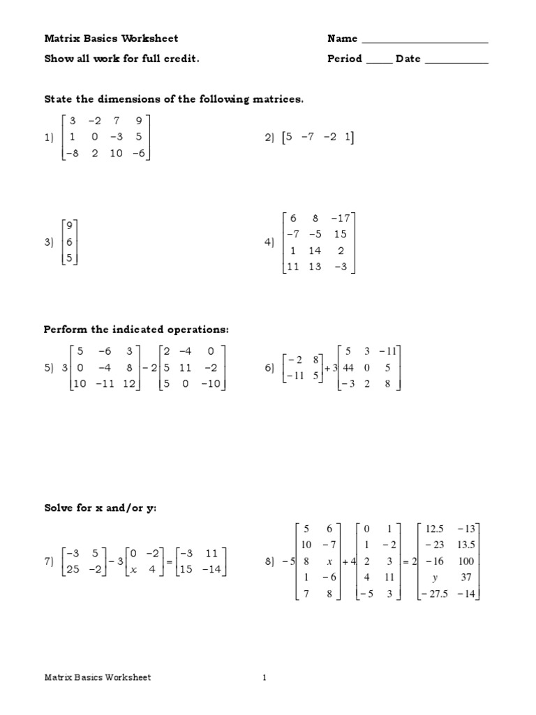 matrix worksheets 3 sections   Matrix Mathematics ...