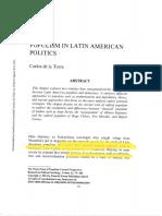 De La Torre_Populism in Latin American Politics