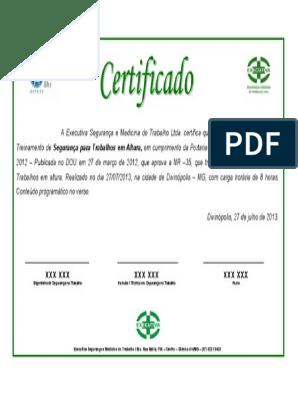 160800327 Certificado Treinamento Trabalho Em Altura Modelopdf