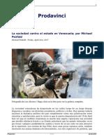 La Sociedad Contra El Estado en Venezuela Por Michael Penfold