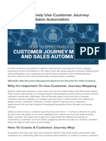 How to Effectively Use Customer Journey Mapping and Sales Automation