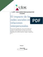 Proyecto (El Impacto de Las Redes Sociales en Las Relaciones Interpersonales)