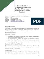 Course Syllabus Pharmacy