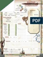 Fantasy Companion Character Sheet Fillable