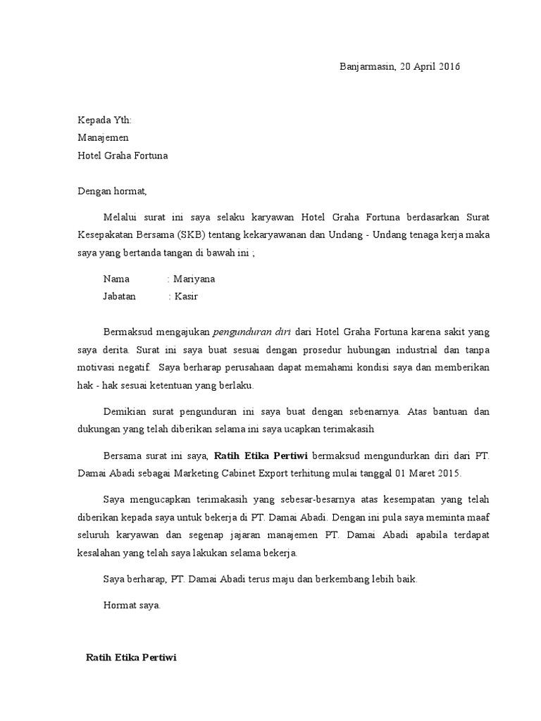 Contoh Surat Resign Hotel Simak Gambar Berikut