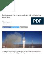 Destroços Da Nave Russa Poderão Cair No Brasil Na Sexta-feira