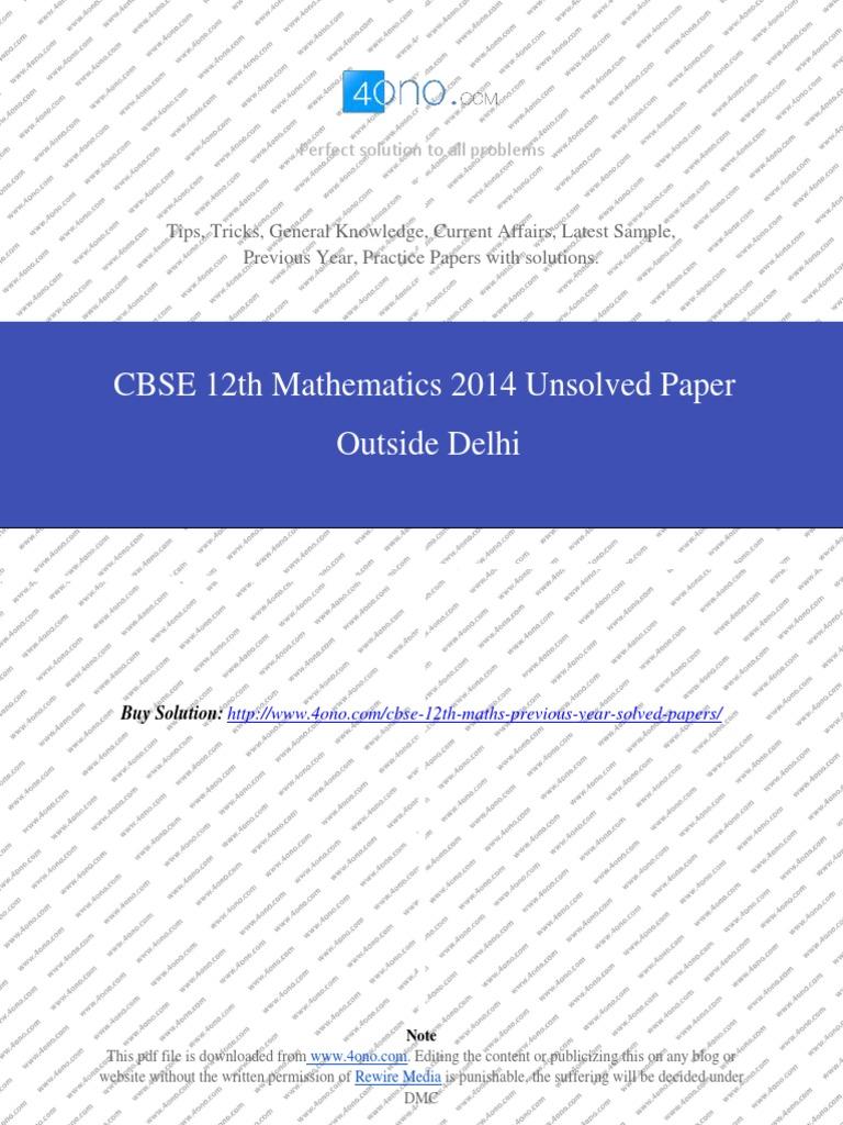 mathematics 2014 unsolved paper outside delhi pdf