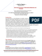 Manufacturing Processes of Biomedical Materials and Products