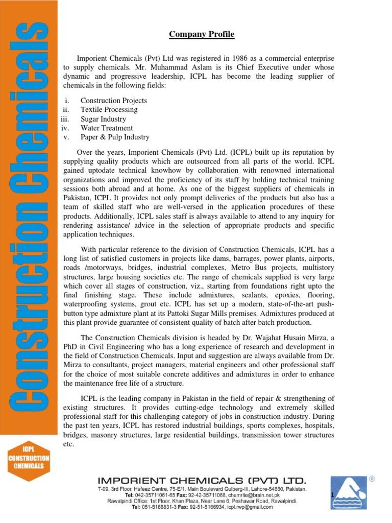1  Imporient Chemicals Company Profile Admixture | Epoxy | Concrete