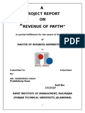 "A Project Report ON Revenue Of Paytm"": Master Of Business"