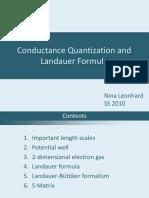 Conductance Quantization and Landauer Formula