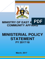 Uganda Ministry of East African Community Affairs ministerial policy statement FY 2017/18