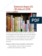 Sfaturi Montessori Despre CE Citim