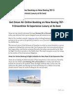 Get Oman Air Online Booking on New Boeing 787-9 Dreamliner
