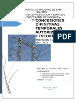Conseciones Definitivas y Autorizaciones de Centrales de Generacion Electrica en El Sur Del Peru